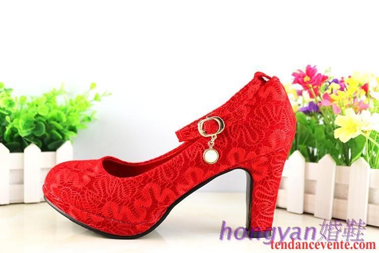Chaussures de mariage à bout rond rouges femme Y9xkN