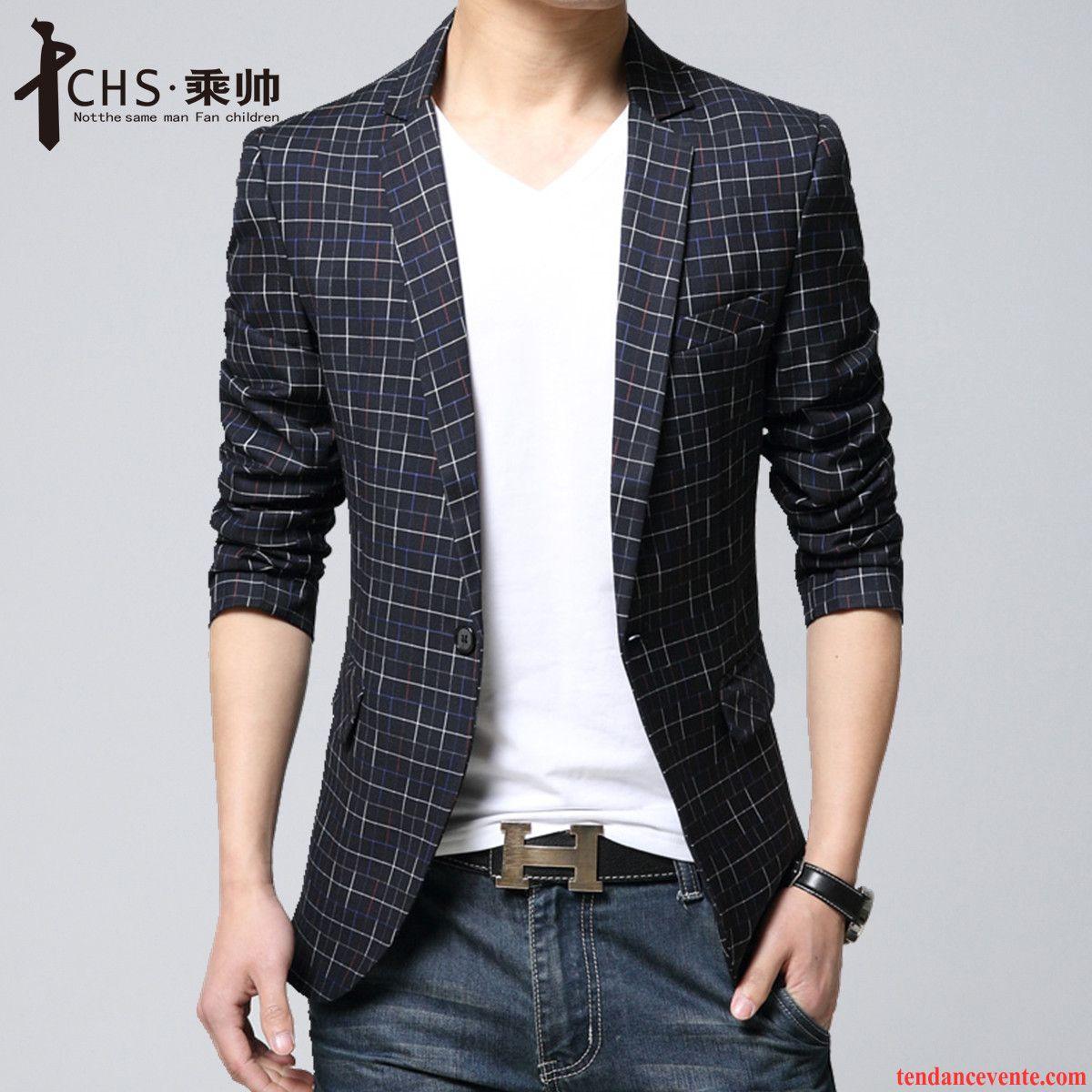 2c7b4c2160e6 Blazer En Cuir Pour Homme Homme Pardessus Une Veste Costume Slim  Taillissime Décontractée Carreaux Britanique Mode ...