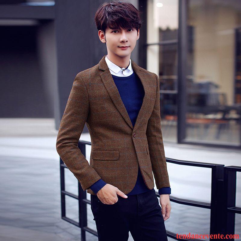 Blazer homme cuir marron jeunesse carreaux slim homme d contract e de laine pardessus une veste - Blazer homme marron ...
