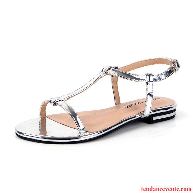 6e64921e49f Chaussure Femme Sandales Cuir Plates Été Rome Antidérapant Femme  Décontractée Plage Pas Cher