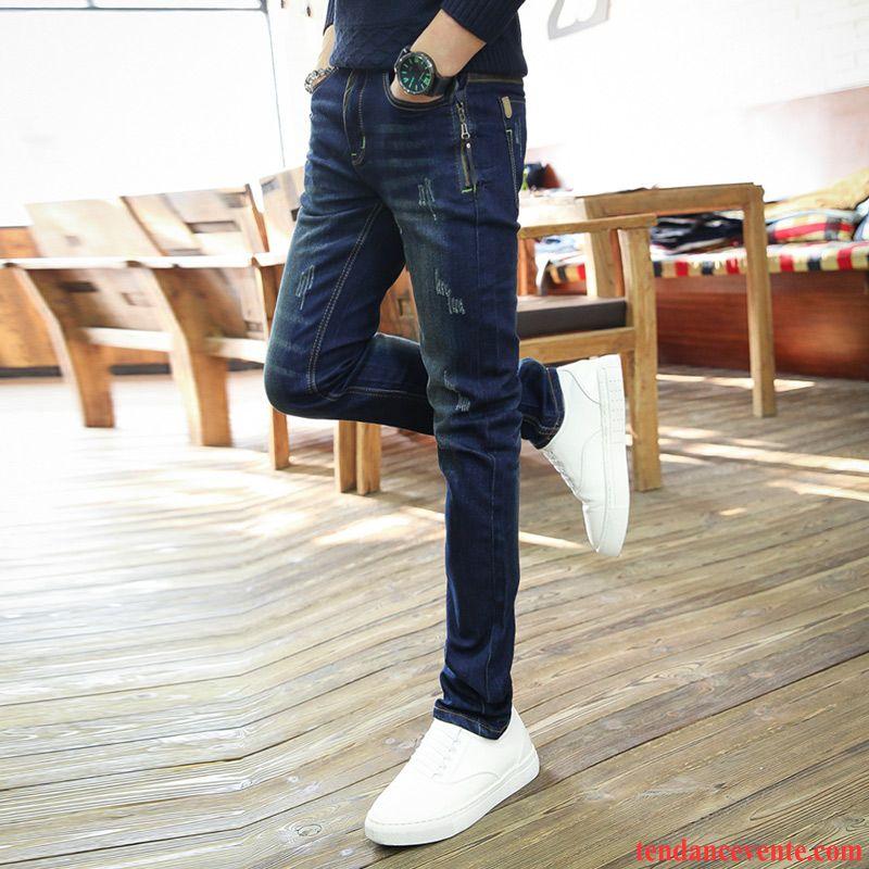 jeans homme pas cher taille haute pantalon bleu slim plus de velours maigre hiver homme. Black Bedroom Furniture Sets. Home Design Ideas