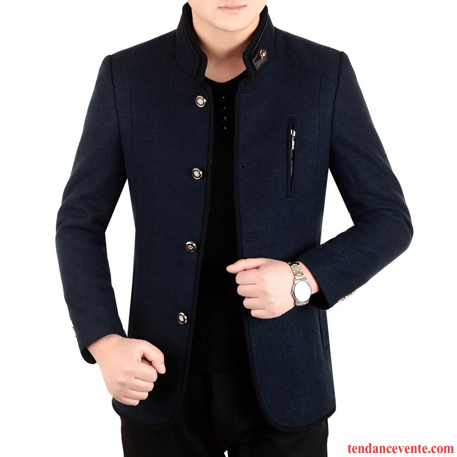 manteau homme a capuche pardessus hiver veste l 39 automne pais col mandarin homme la laine pas cher. Black Bedroom Furniture Sets. Home Design Ideas