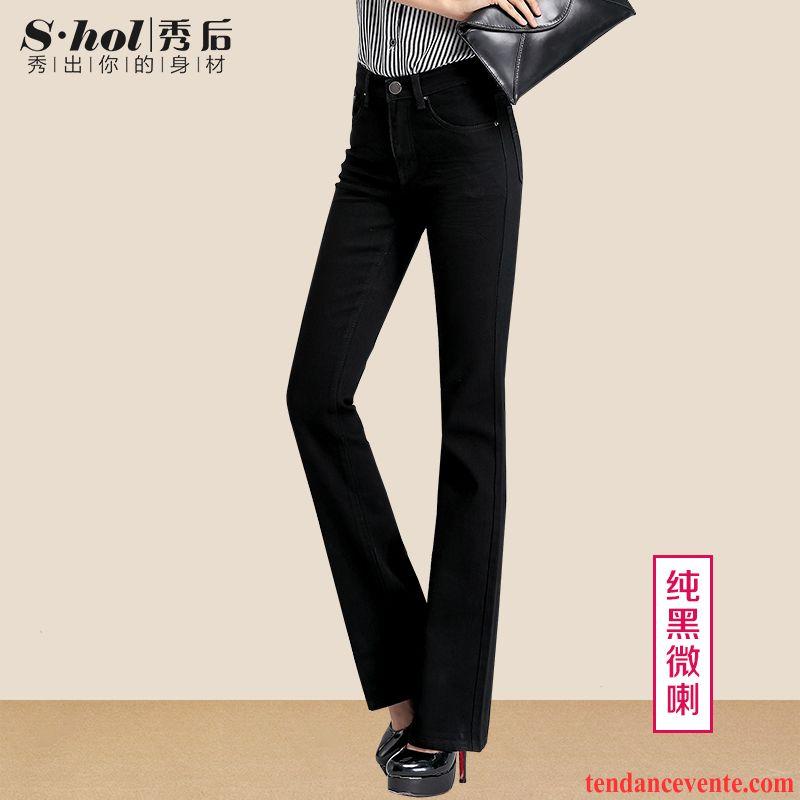 Marque De Jeans Femme Forme Haute Cintrée Femme Jambe Droite Plus De Velours  Pantalon Légèrement Extensible Graisse Mince Slim Noir Taillissime Bordeaux  ... e7273547f040