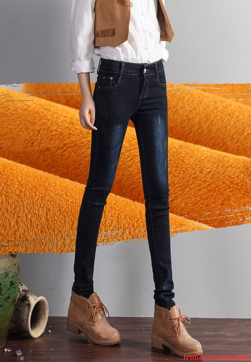 4620104faf4c Pantacourt Jean Femme Taille Haute Chauds Slim Hiver Mince Femme Maigre  Pantalon Plus De Velours L automne Extensible Jaune