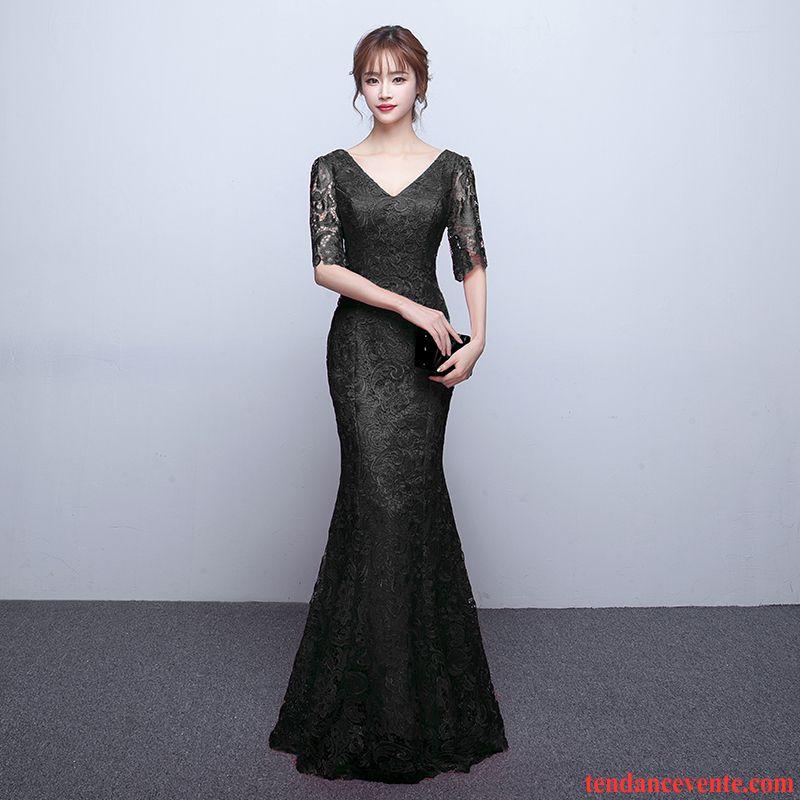 aa69893899a Robes D Hiver Manches Longues Slim Mince Longue Queue De Poisson Femme Noir  Robe Col En V Mode Élégant Saphir Pas Cher