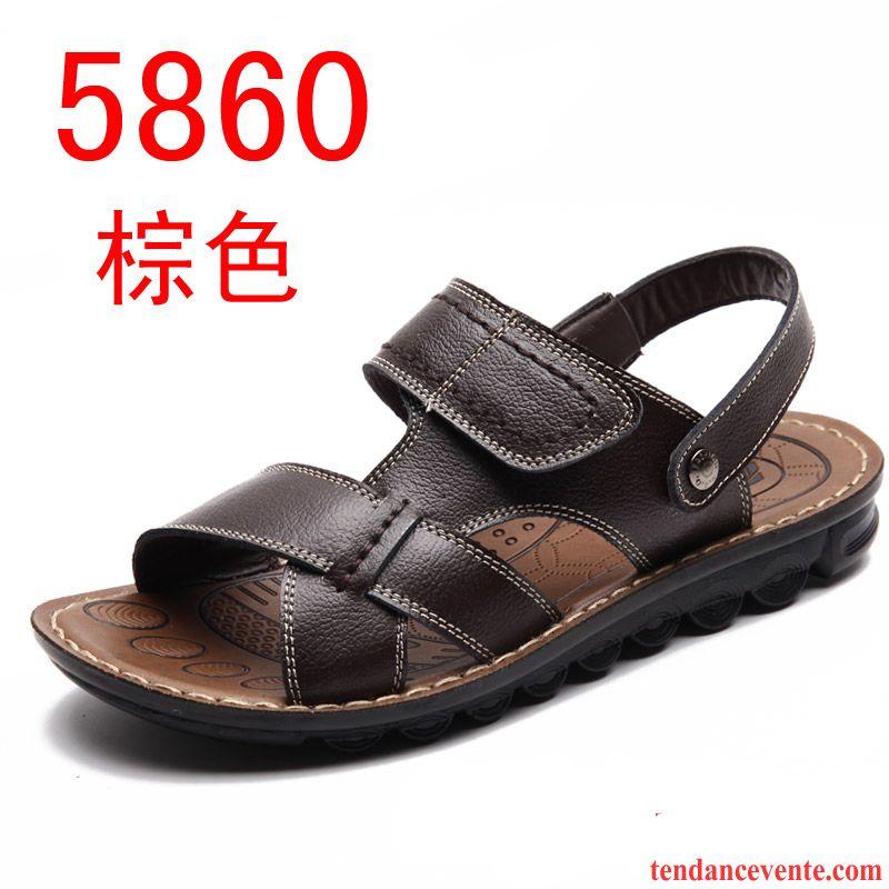 sandales pour homme blanc en cuir cuir v ritable homme chaussons tendance plage t d contract e. Black Bedroom Furniture Sets. Home Design Ideas