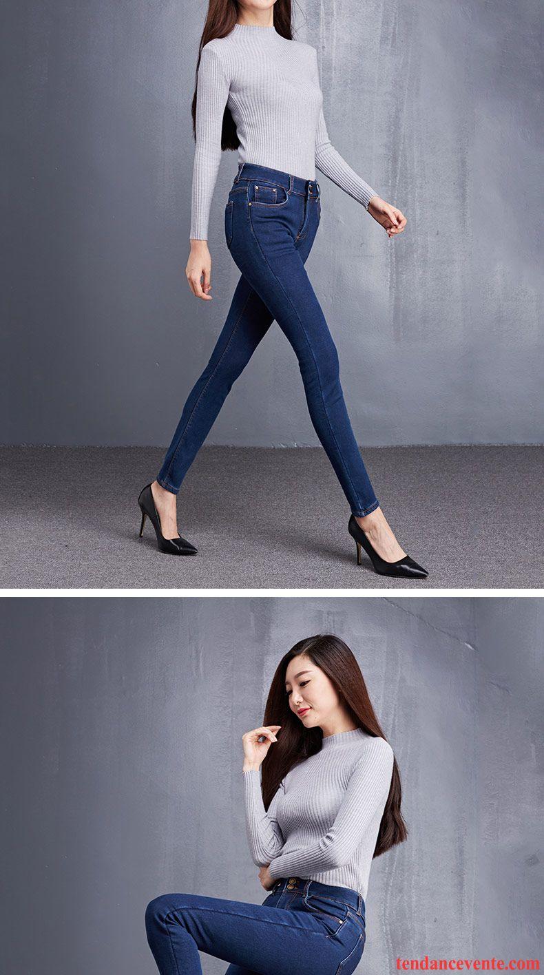 Jean Coupe Large Femme Noir Chauds Femme Maigre Mince Hiver Plus De Velours Pantalons Crayon ...