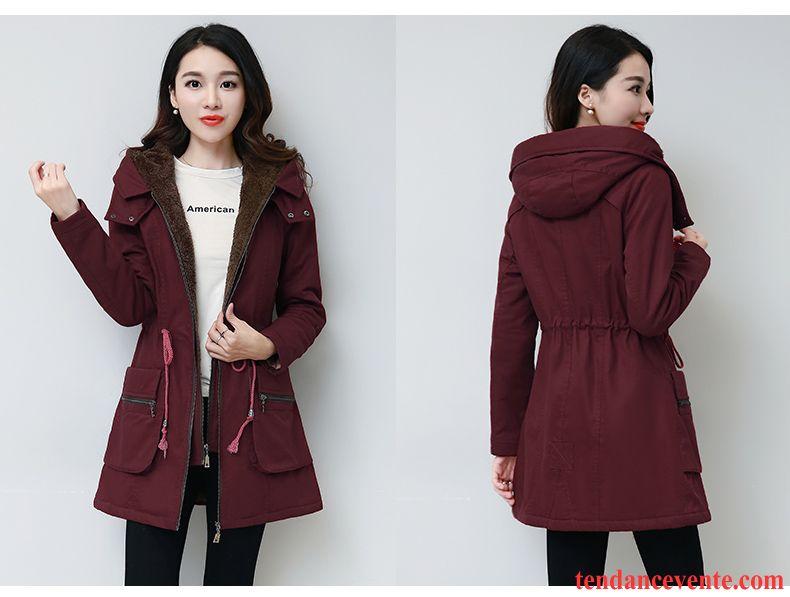 manteau femme chaud capuche plus de velours longue hiver manteau en coton capuche pardessus l. Black Bedroom Furniture Sets. Home Design Ideas