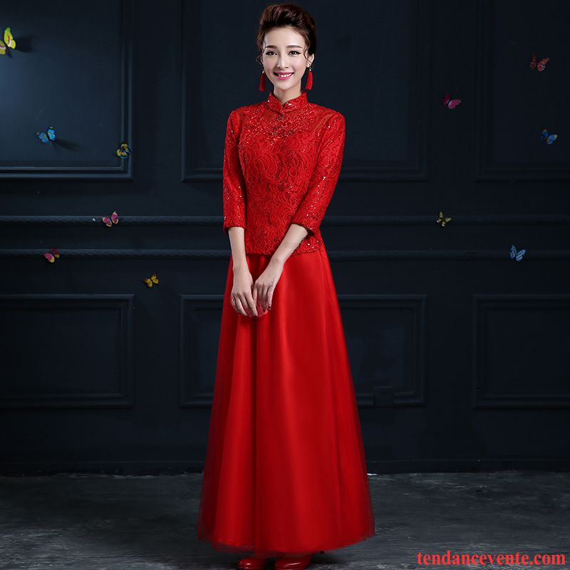 6ef078f9245 Acheter Une Robe Hiver L automne Robe Longues Mince Robe Chinoise Renforcé  Femme Gros Rouge
