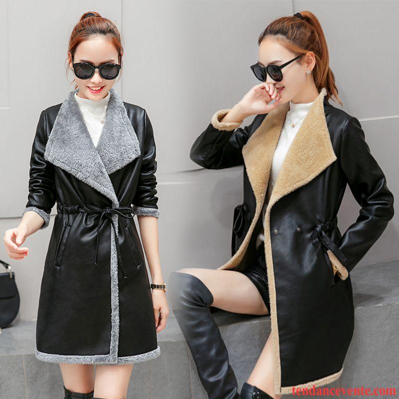 Acheter Veste En Cuir Femme Hiver Plus De Velours Pardessus Femme Longue Chauds Manteau L'automne Vêtements D'hiver Cuir Renforcé Dame