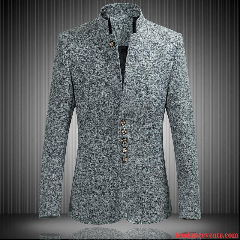 Blazer Blazer Homme Bleu Marine Col Mandarin Slim Jeunesse Renforcé Pardessus Costume Hiver Homme L'automne Décontractée Taillissime Blé
