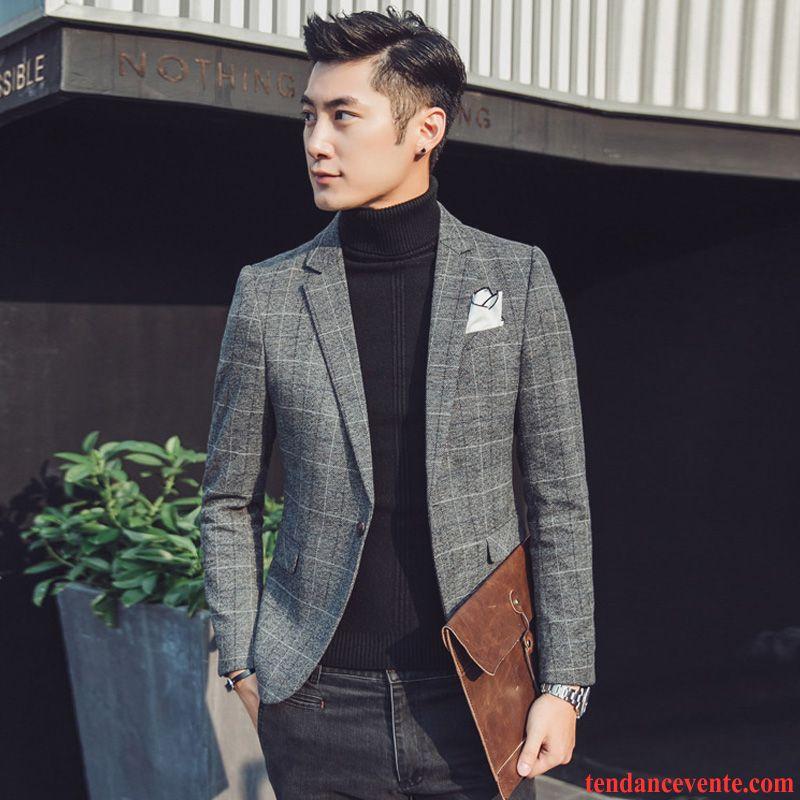 blazer blazer homme printemps homme slim tendance carreaux l 39 automne hiver costume pardessus vente. Black Bedroom Furniture Sets. Home Design Ideas