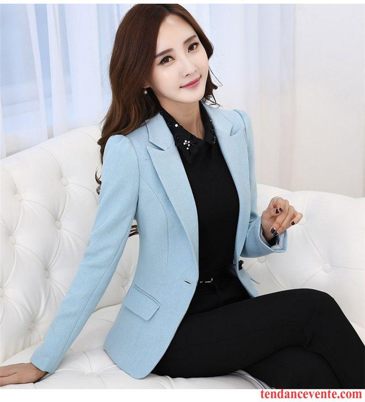Blazer Originale Femme Femme Mince Court Pardessus Professionnel Printemps Slim Blazer Mode Hiver Tempérament L'automne Azur