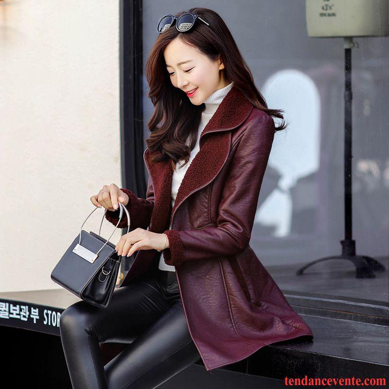blouson cuir femme grande marque plus de velours renforc hiver court d contract e tendance cuir. Black Bedroom Furniture Sets. Home Design Ideas