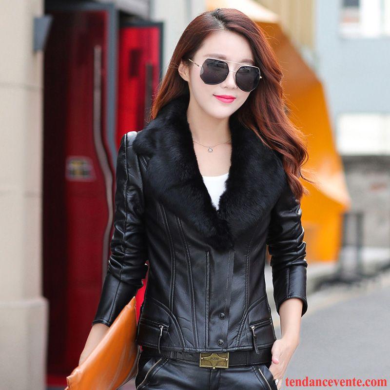 Blouson motard femme simili cuir marron
