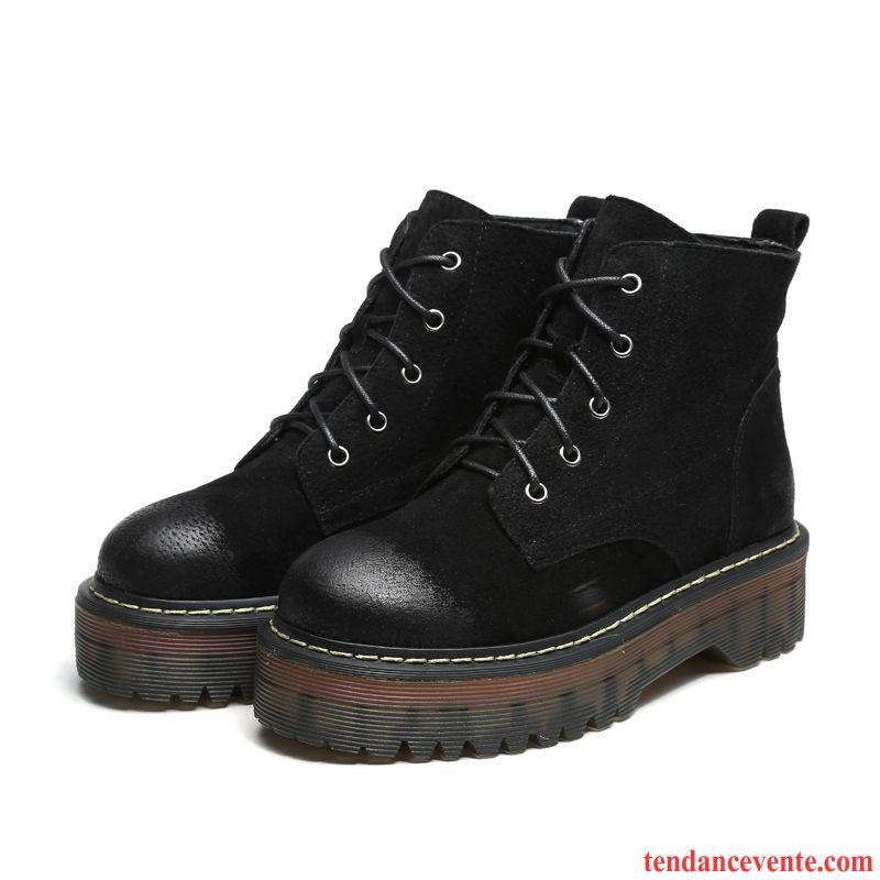 Boots Femme Cuir Beige Femme Angleterre Chaussures En Coton Hiver Étudiant Rétro Cuir Véritable Plus De Velours Semelle Épaisse Argent