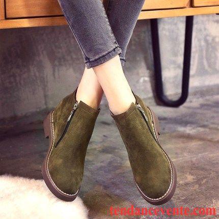 chaussures de sport db60d 8276d Boots Femme Cuir Marron L'automne Augmenté Délavé En Daim ...