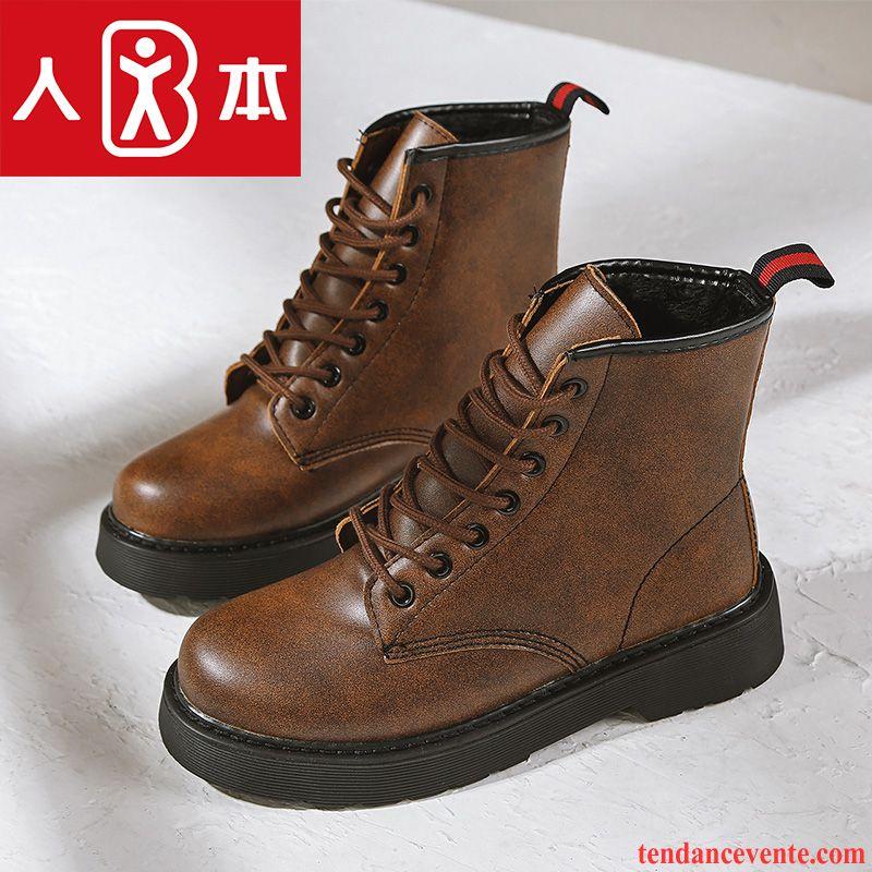 Boots noir cuir velours à semelle épaisse Noir cvrgEOtu