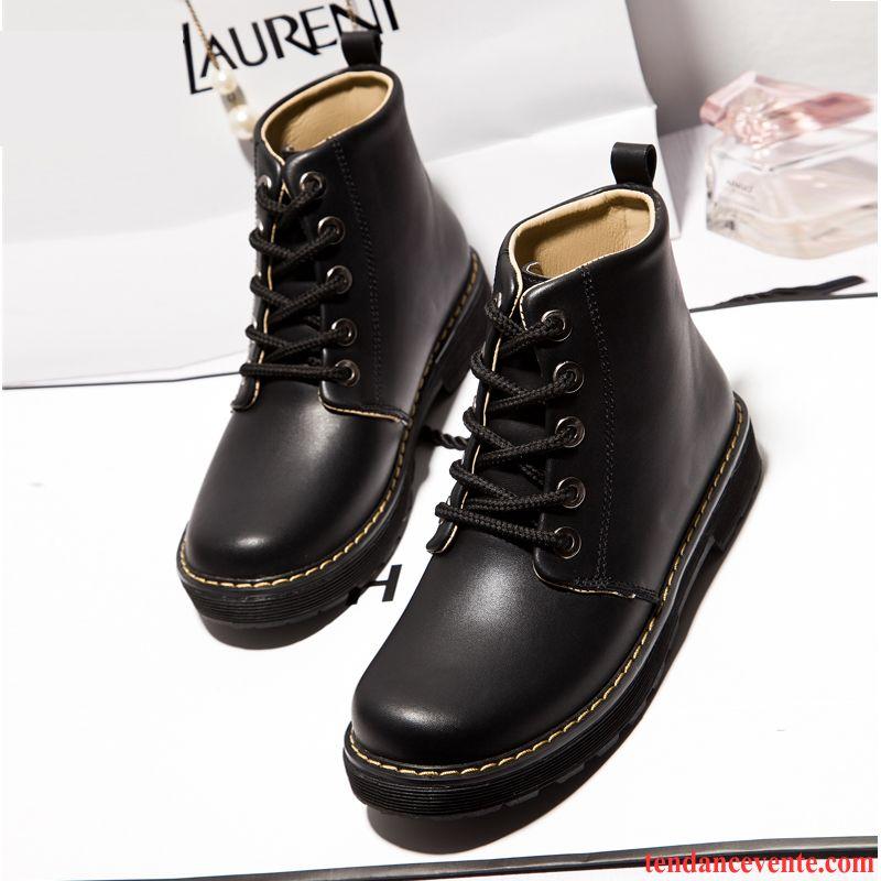 9b498b35a266 Boots Noir Cuir Femme Laçage Hiver Chauds Plates Caoutchouc Matelassé  Antidérapant Femme Angleterre L automne Tendance ...