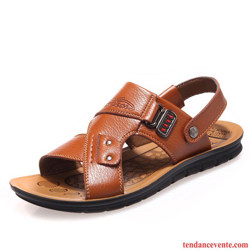 sandales de marque homme plage homme semelle doux d contract e cuir v ritable de plein air t. Black Bedroom Furniture Sets. Home Design Ideas