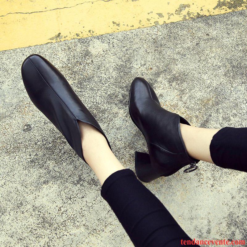 Bottes Femme Chaussures En Coton Tête Carrée Bottes Martin Plus De Velours Tous Les Assortis Hiver Noir