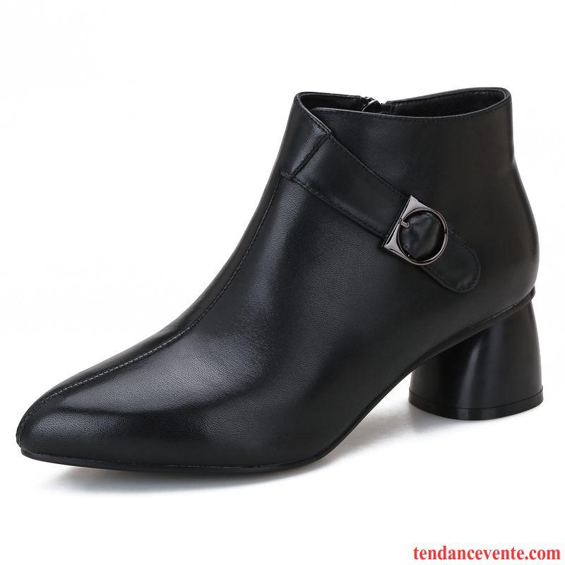 Bottes Femme L'automne Bottes Courtes Hiver Chaussures En Coton Europe Épais Noir