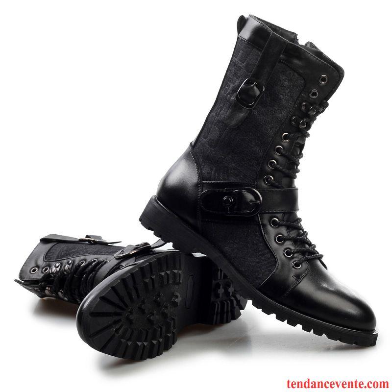 bottes fourr es homme tendance homme cuir v ritable augment noir en cuir plus de velours la age. Black Bedroom Furniture Sets. Home Design Ideas