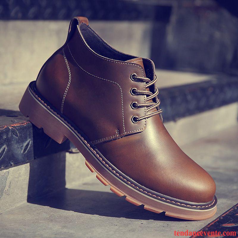 Bottes Homme Chaussures De Skate Hautes Printemps Bottes Martin Décontractée Chaussures En Coton Brun