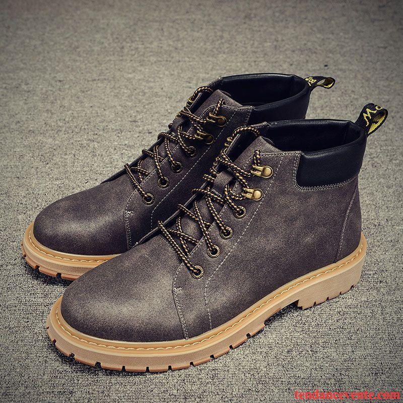 Bottines Homme en Cuir Hiver Velours Coton Chaud Chaussures v18Kt