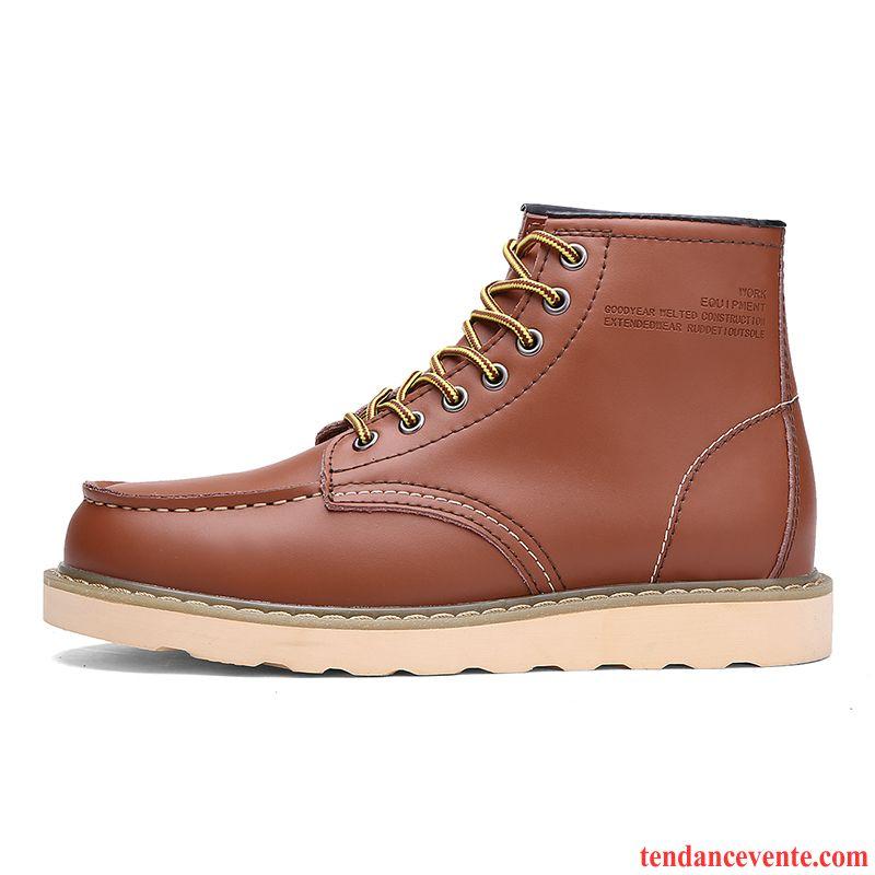 Bottines Homme en Cuir Hiver Velours Coton Chaud Chaussures 1I4vcb