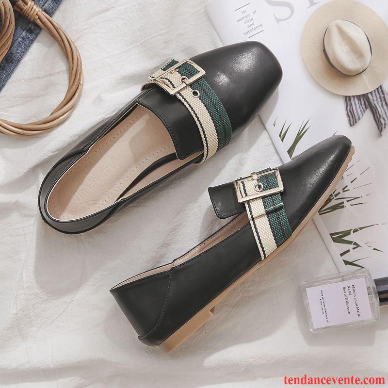 Boutique Chaussure Femme Noir Derbies Femme Tête Carrée Plates L'automne Angleterre Rouge Bisque