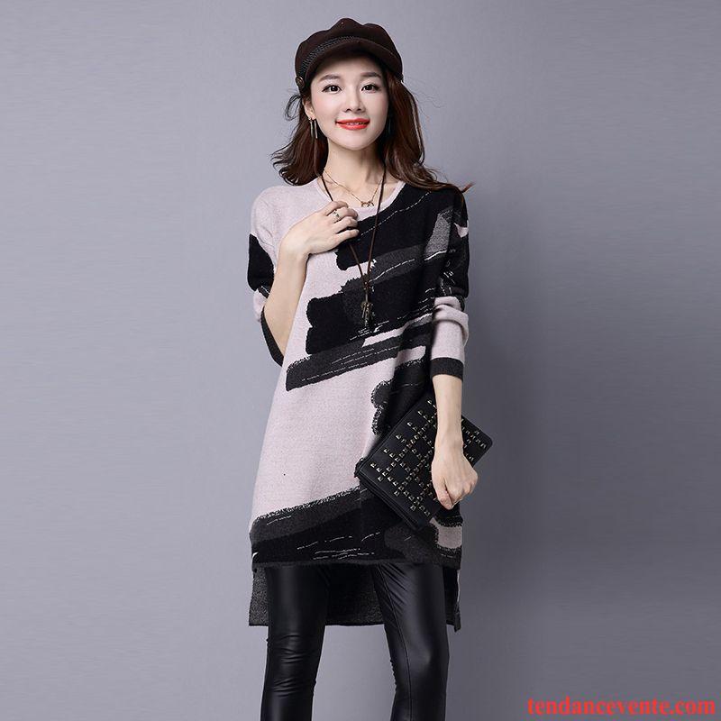 Cardigan Beige Femme Longue Col Rond Longues Hiver Pullovers Tricots En Maille Chemise En Bas Femme Renforcé Baggy Mode Marine Pas Cher