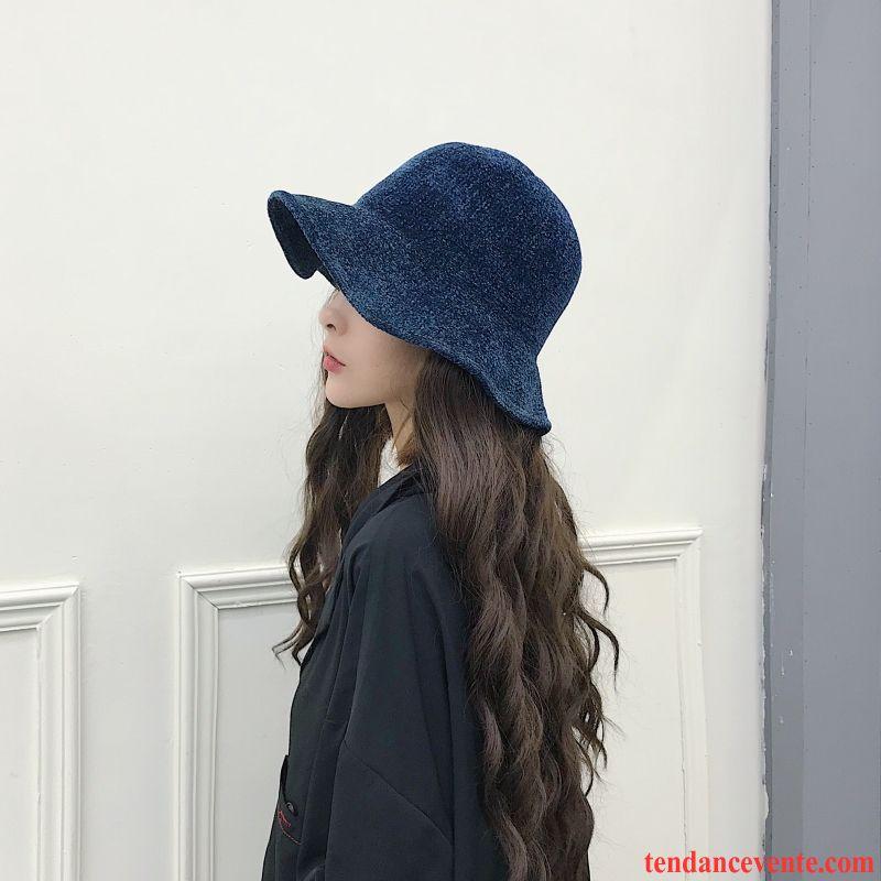Casquette / Chapeau Femme L'automne Tendance Chapeau De Pêcheur All-match Art Rétro Bleu