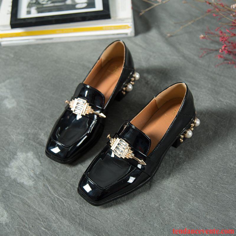 Femme Cuir Perle Chaussure Imitation Tête Verni Carrée Derbies L3jR4A5