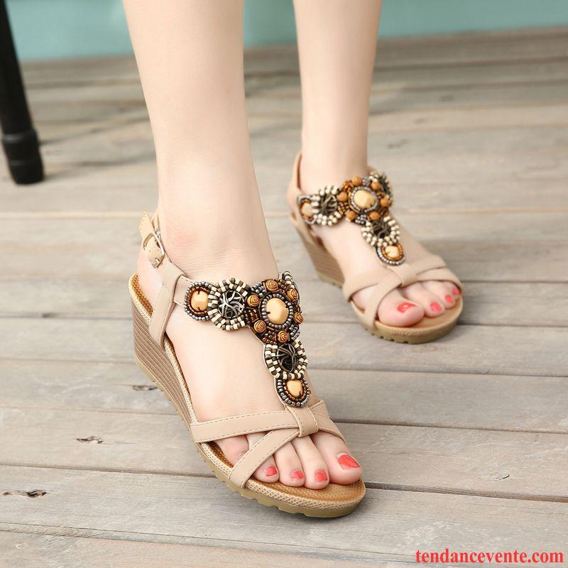ae91d8f075d0e7 Chaussure Sandales Femme Imitation Strass Mince Femme Plage Style National  Talons Compensés Confortable Été