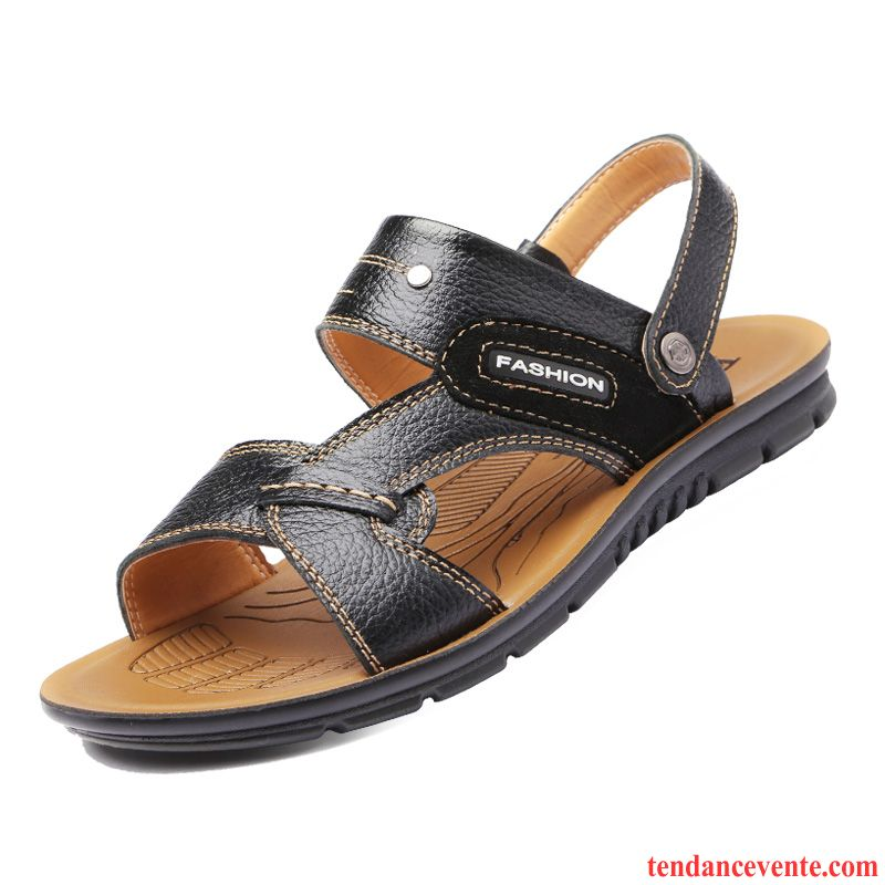 Sandales Soldes Cuir Plage Homme Chaussons Chaussure Été dp1wqzq4