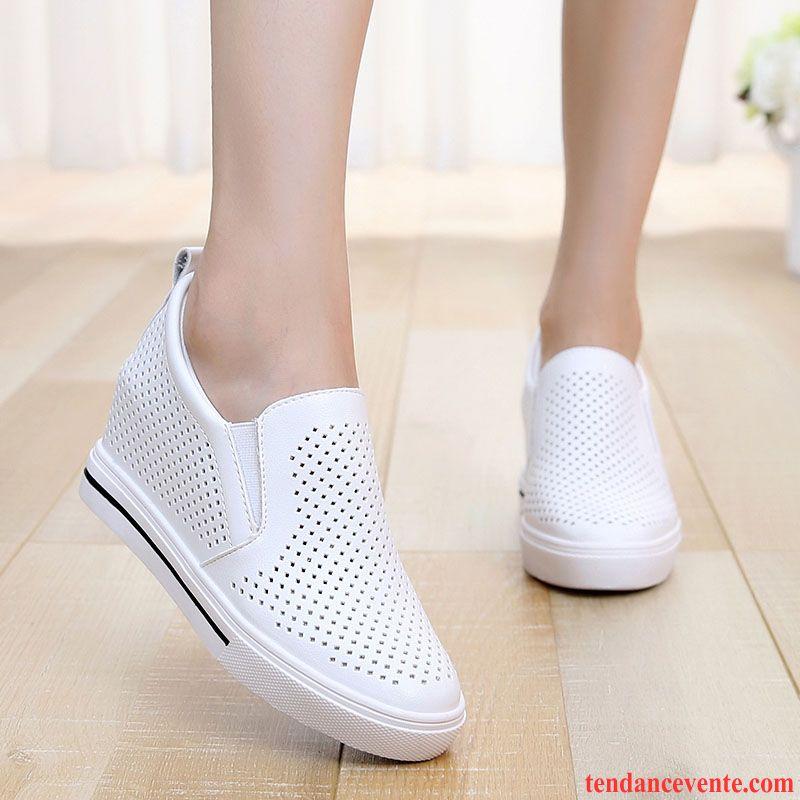 4b294ed0e6f086 Chaussures Femme Confort Printemps Derbies Creux Guipure Augmenté Paresseux  Décontractée Femme Été Blanc Soldes