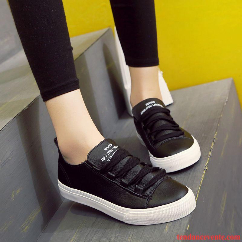 Chaussures Femme Tout Skate En Cuir Plates Tendance Art Étudiant Blanc Ultra Femme Laçage Sport