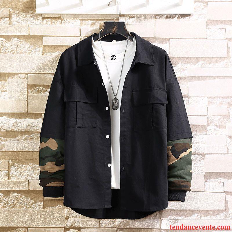 Chemises Homme Camouflage Bureau Tendance Printemps Deux-pièces Coton Bio Impression Noir