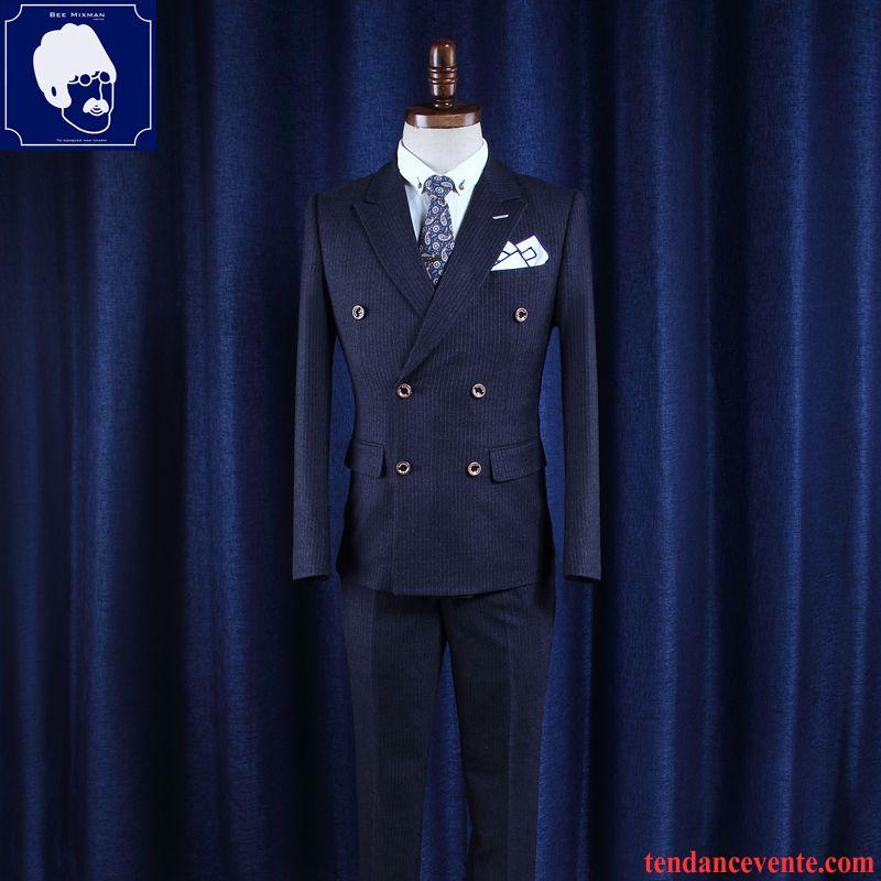 Costume Homme Coton Mariage Slim Britanique Trier Les Boutons Homme Blazer Rayé Ensemble Or