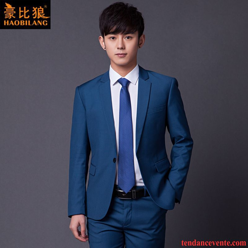Costume Homme Discount Jeunesse Mariage Homme Blazer Tendance Ensemble Bleu Mode Slim Pas Cher