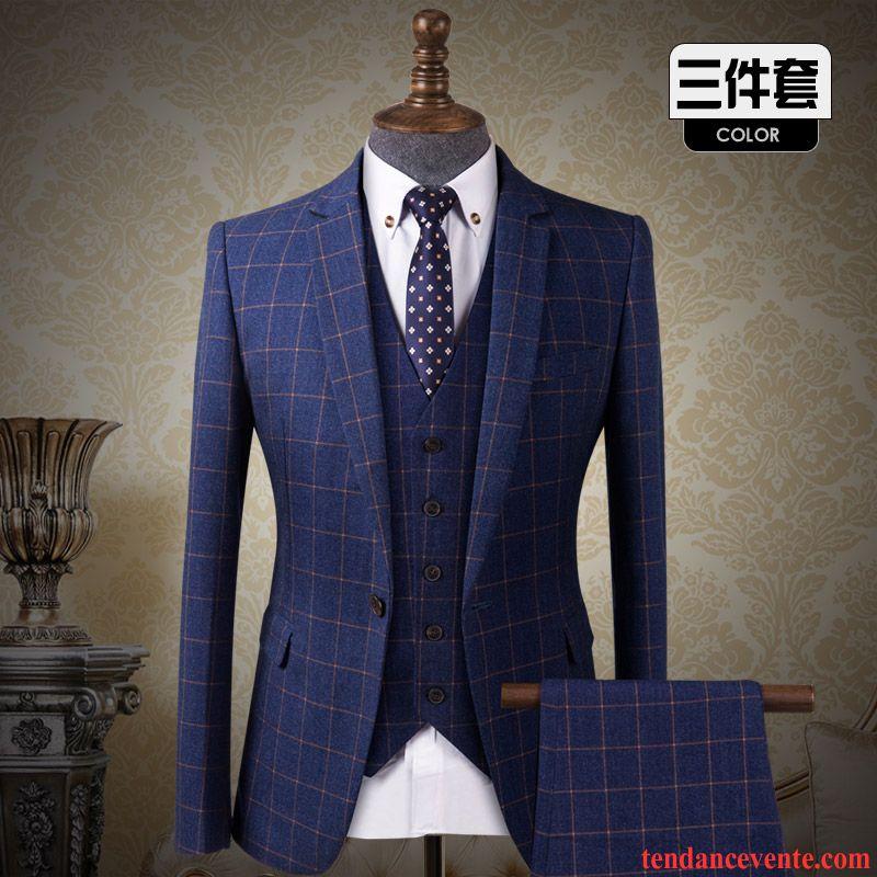 costume moderne homme d contract e slim l 39 automne homme carreaux ensemble blazer mari e robe. Black Bedroom Furniture Sets. Home Design Ideas