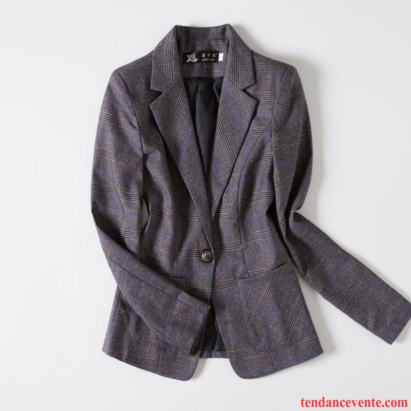 Costumes Blazer Femme Simple Slim L'automne Printemps Décontractée Vérifier Carreaux Gris Foncé