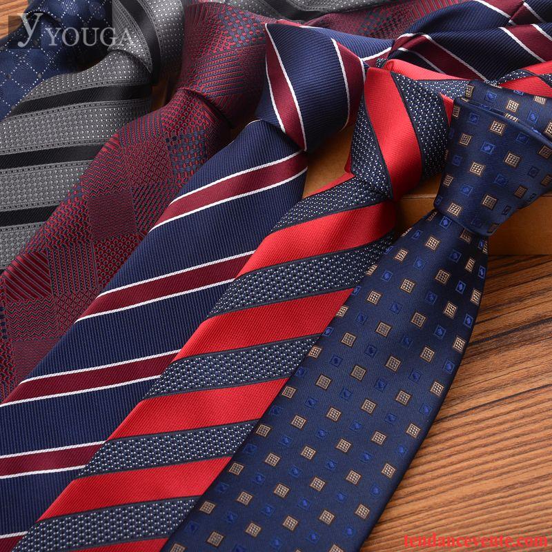 Cravate Homme Étudiant Entreprise Étroit Marier 7cm Le Marié Bleu Noir Rouge