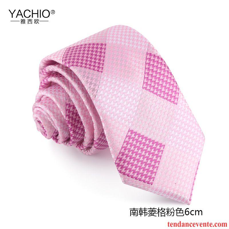 Cravate Homme Entreprise Boite Cadeau Treillis Étroit Le Marié 6cm Rose