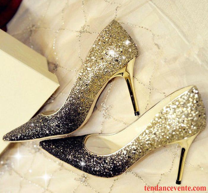 b54ce96ed7c3e3 Escarpins Compensés Pas Cher Paillette Derbies Pointe Pointue Super Star  Femme Chaussures De Mariage Talons Minces ...