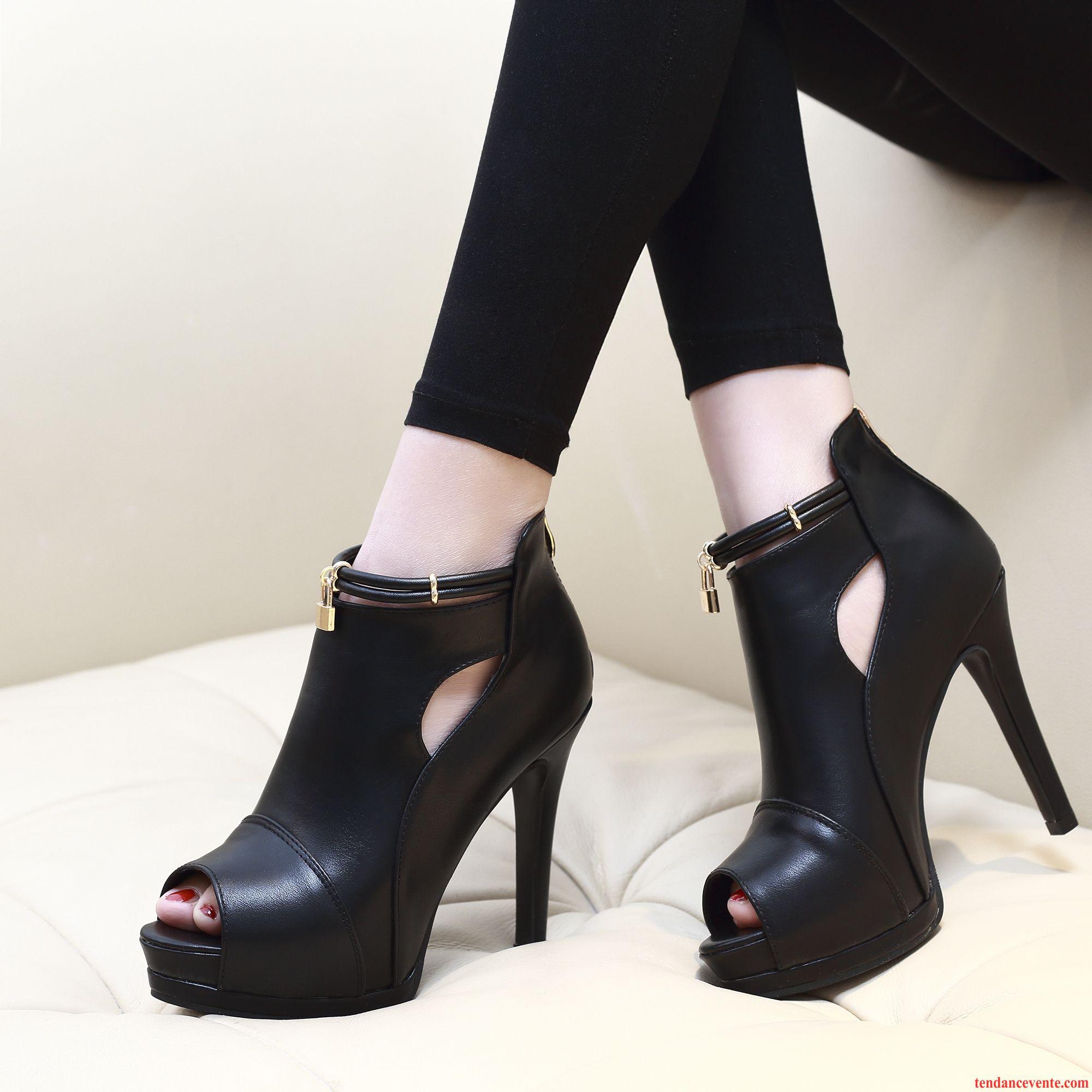 Chaussures noires Sexy femme QFrmXku6