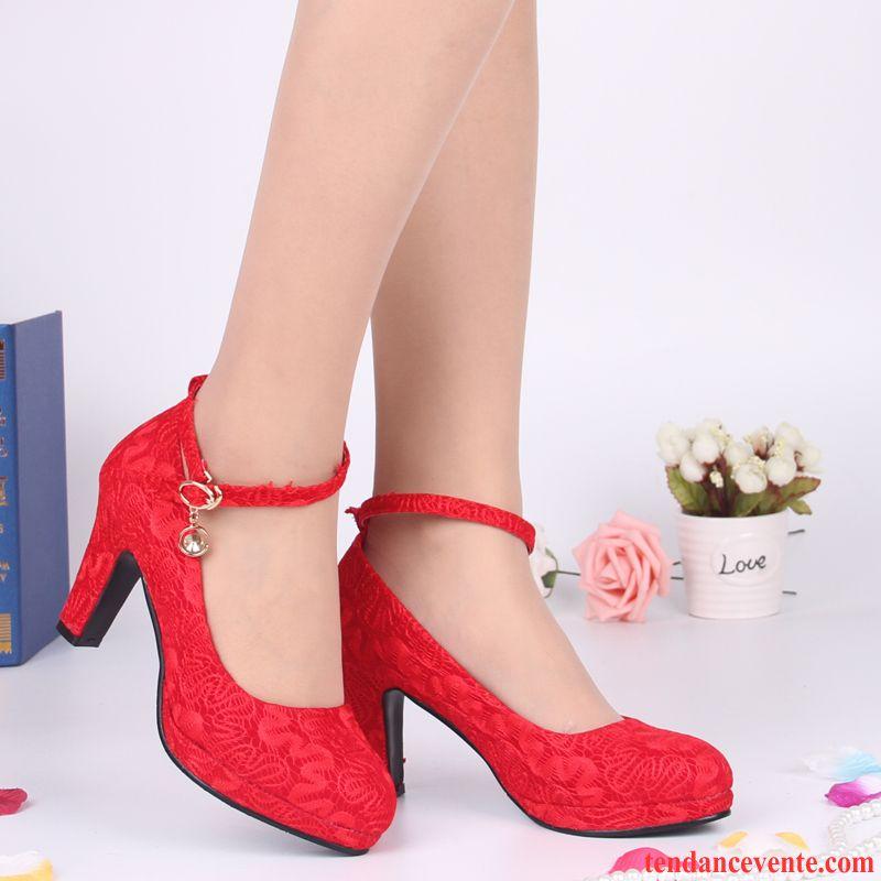 298f41e2c19791 Escarpins Femme Talon Compensé Taillissime Mariage Épais Printemps Dentelle  Plateforme Étanche Chaussures De Mariage Femme Rouge Été