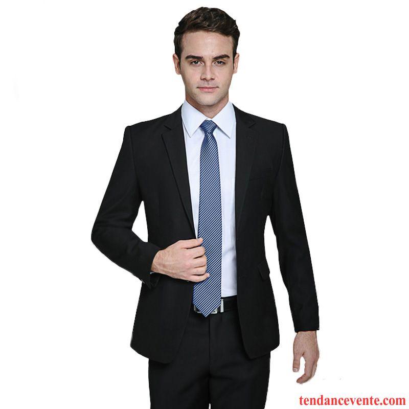 costume noir pas cher slim mariage blazer homme une veste de travail tendance pardessus costume. Black Bedroom Furniture Sets. Home Design Ideas
