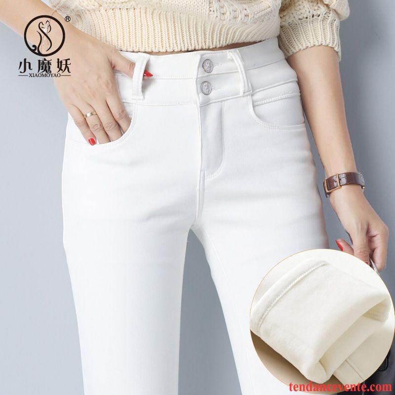 Jean Bootcut Femme Taille Haute Mince Femme Plus De Velours Renforcé  Pantalon Taillissime Blanc Hiver Slim Leggings Dessous Chauds ... c1d40511f9c